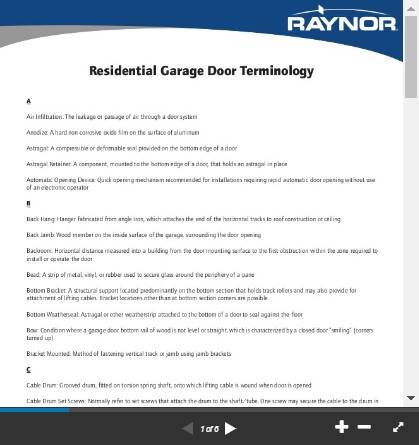 garage door terminology