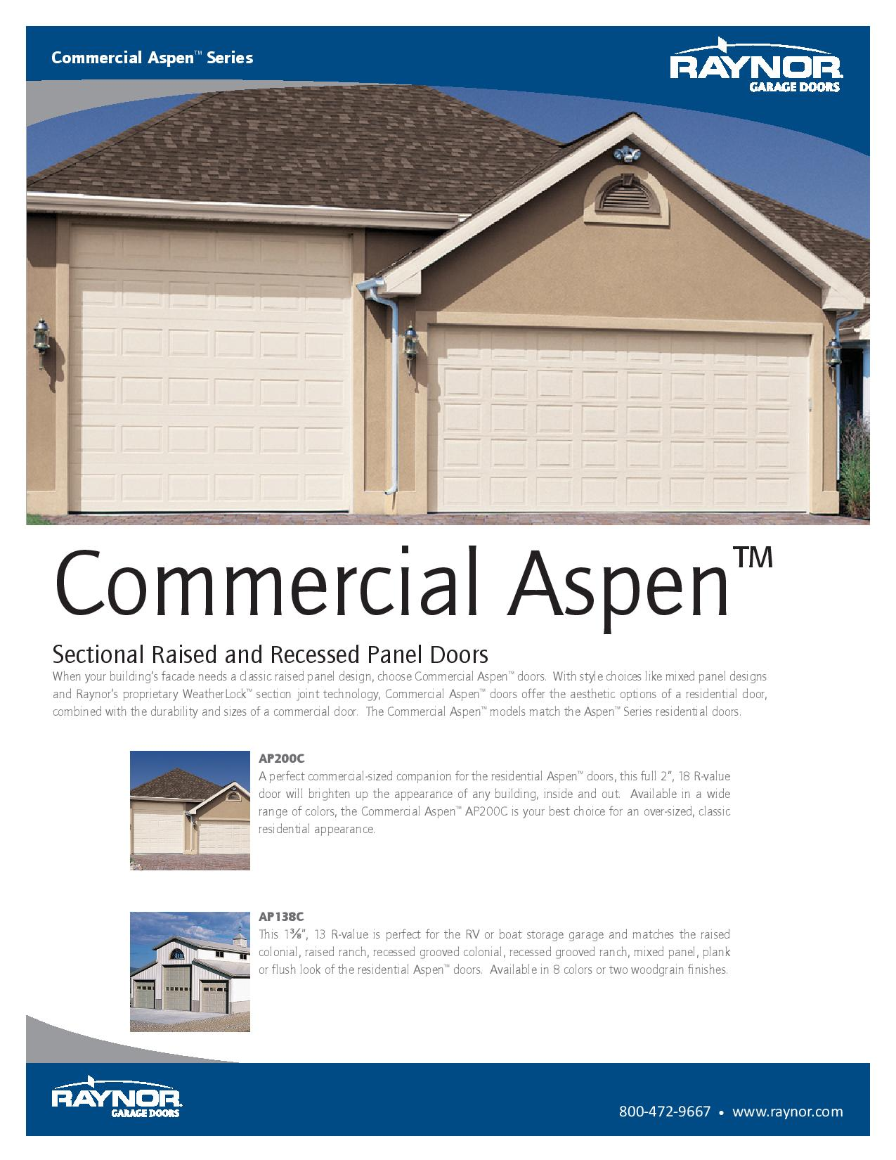 Commercial Aspen Traditional Style Garage Doors For