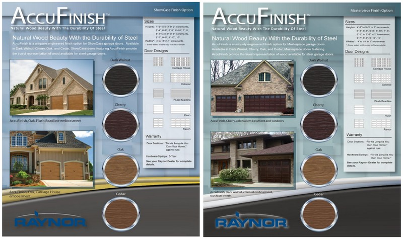 wood style accufinish garage doors