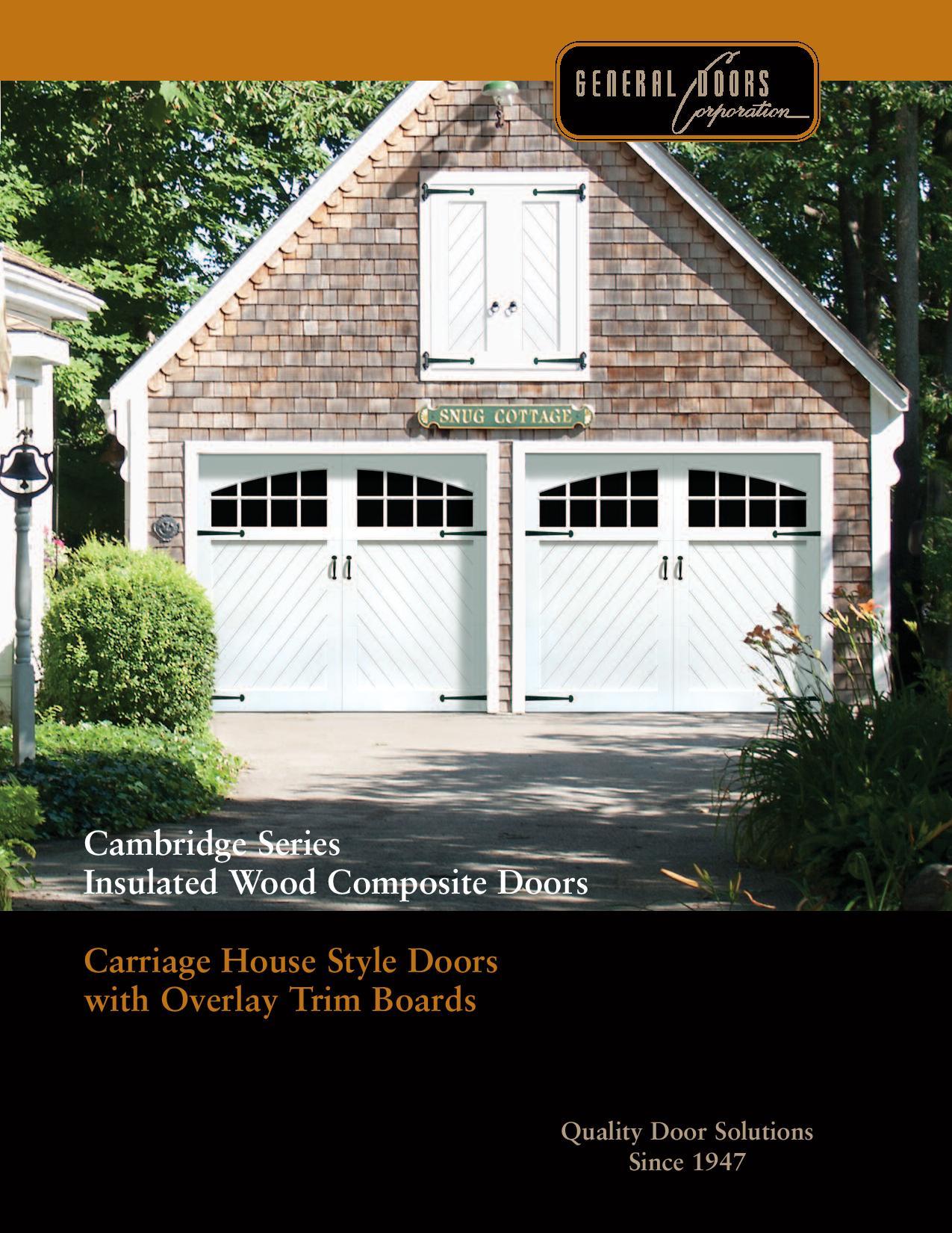 Cambridge Series Insulated Wood Composite Garage Doors By General