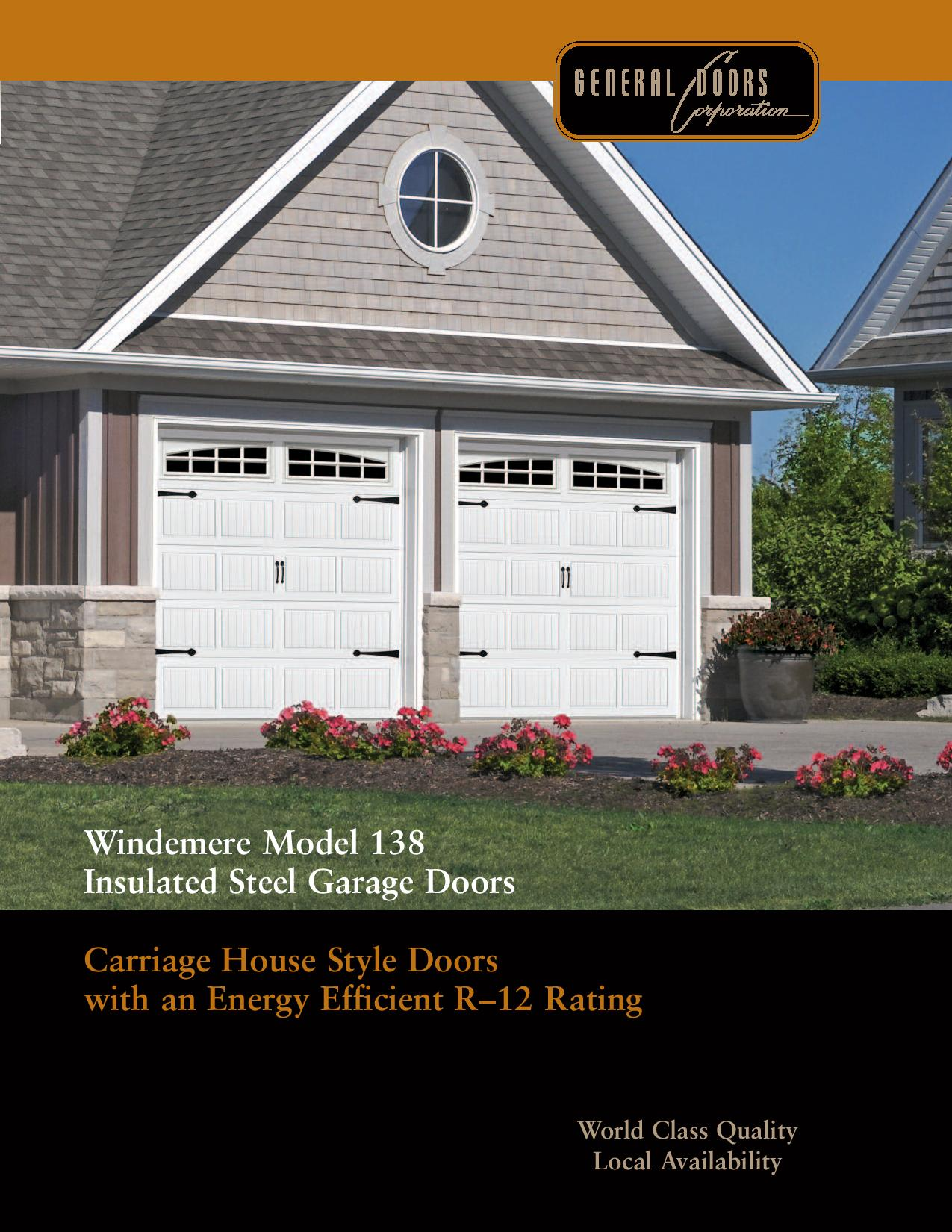 Catalog windemere model138 energy efficient carriage house Energy efficient garage doors