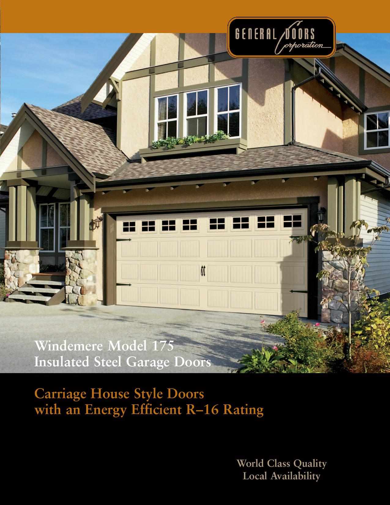 Windemere model175 energy efficient carriage house garage for Energy efficient garage doors